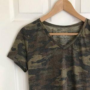 {Rue21} Camo V- neck Stretchy T- Shirt